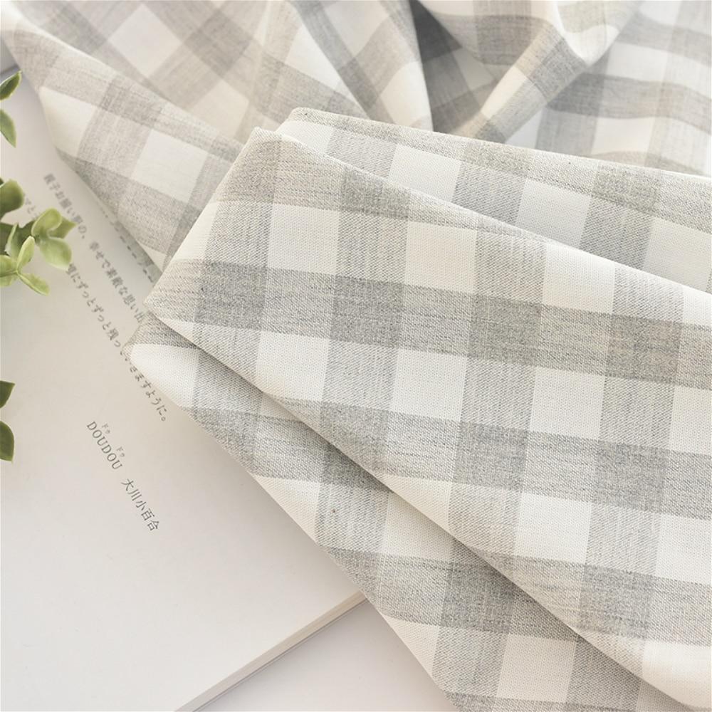 112x50cm Plaid Cotton Sewing Fabric for Dress Soft Making Bedding Hand-Made Home Decor Cloth 165g/m