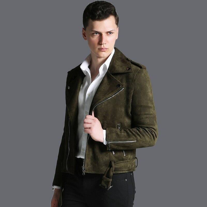 معطف خريفي وشتوي رجالي, عالي الجودة ، من جلد الغزال ، دافئ ومتين ، بأزرار ، متوفر في عدة قياسات