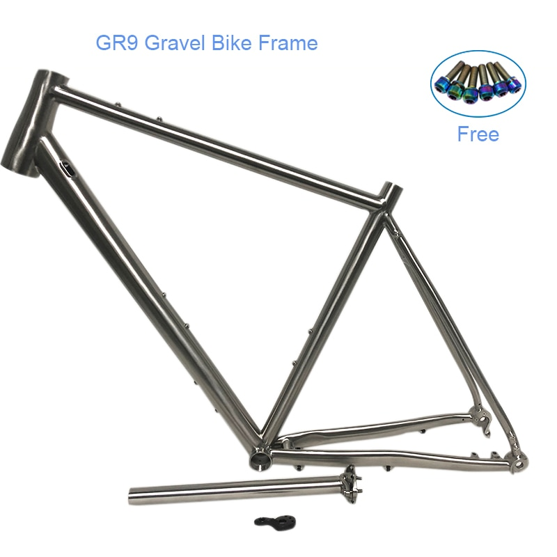 Popular bike frame Titanium Alloy GR9 titanium gravel bike frame with Seat Post for disc brake free spare derailleur hanger