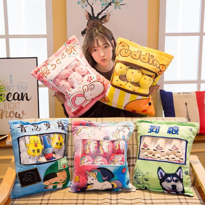 Plushies Bag Pudding Toys Stuffed Mini Plush Animals Dolls Pillow Kawaii Anima Cute Bunny Bear Dog Cat Pig Cushion Girls Gift