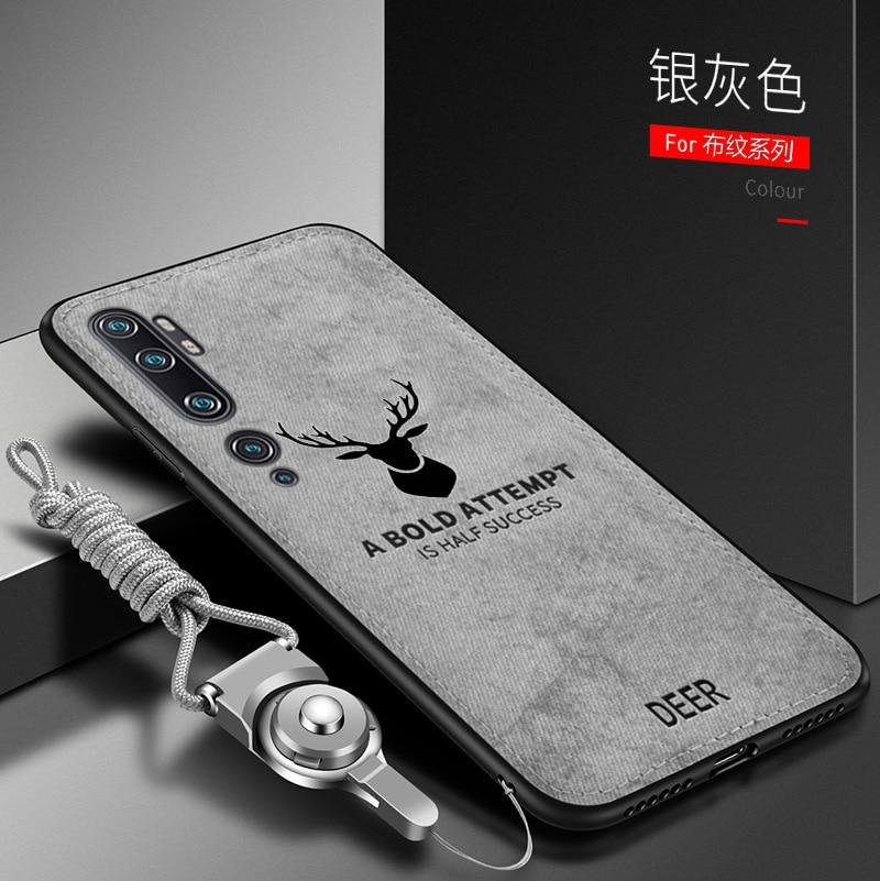 Funda de lujo para Xiaomi Mi Note 10 Lite, suave de silicona + tela dura, funda protectora trasera con diseño de gato ciervo para xiaomi mi Note 10 lite