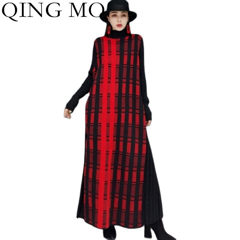 تشينغ مو 2021 خريف جديد عالية الرقبة طويلة البلوز سترة المرأة فضفاضة ضئيلة منقوشة مطبوعة محبوك سترة فستان ZWL1421