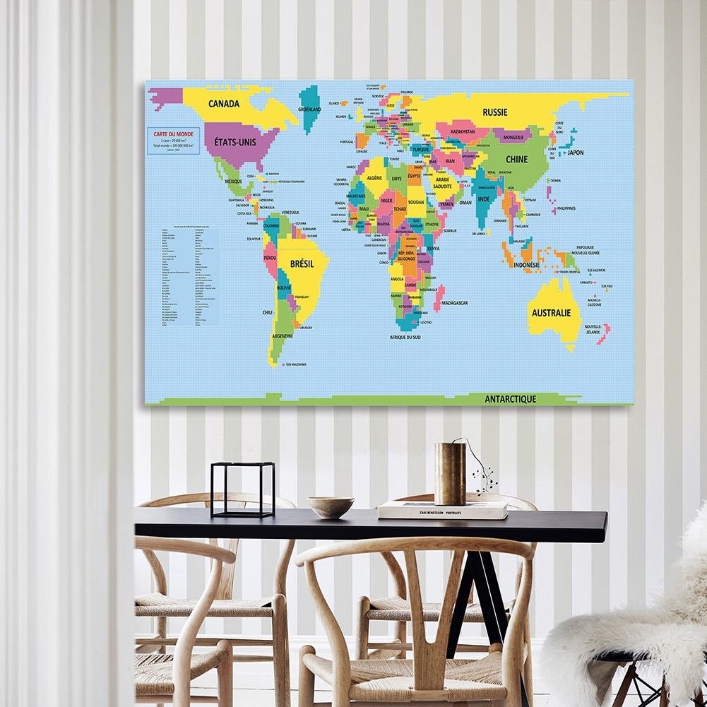 In French The World Map 225*150cm Decorative Poster Non-woven Canvas Painting Wall Home Decoration Children School Supplies