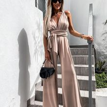 Summer Elegant Women Jumpsuits 2021 Sexy Solid V Neck Sleeveless Backless Loose Wide Leg Palysuits B