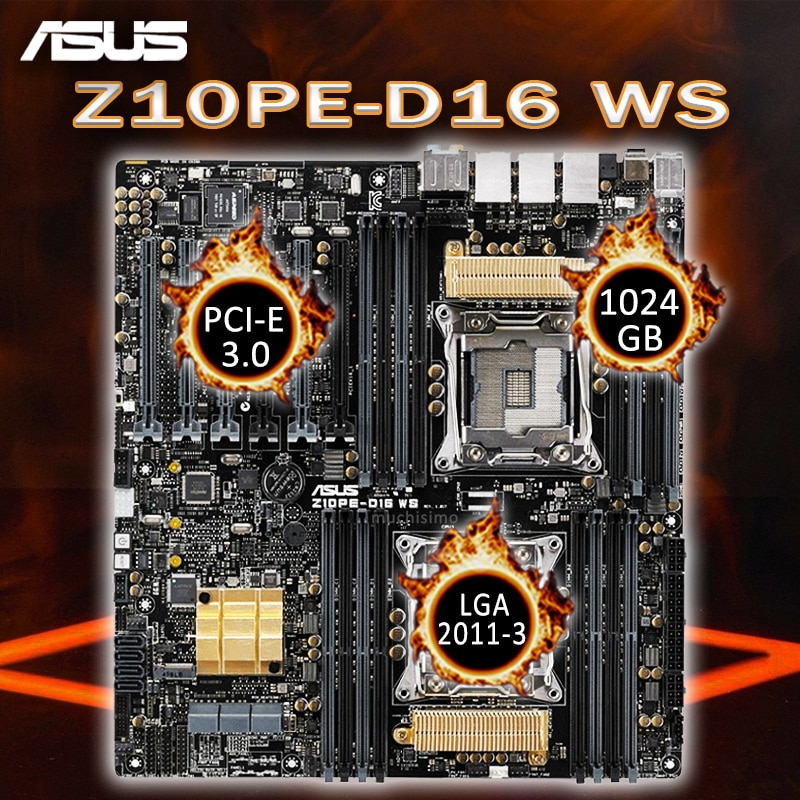 Promo LGA 2011-3 Asus Z10PE-D16 WS Motherboard IPMI 2.0 Intel C612 PCH M.2 SSD High Speed Desktop C612 Placa-mãe 2011-3 Workstation