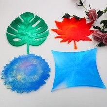 Bricolage cristal silicone résine époxy moule caboteur ensemble irrégulier table caboteur moule à la main miroir feuilles feuille dérable diamant moule