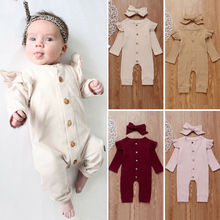 Newborn Baby Girl Boy 0-24M 2PCS Cotton Clothes Knitted Romper Jumpsuit Autumn Outfits