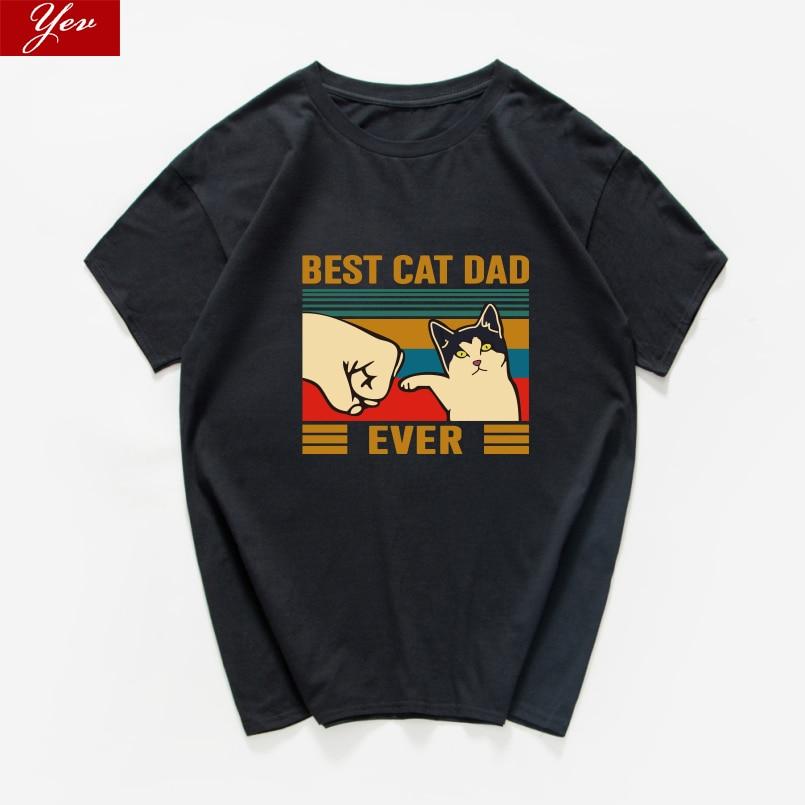 El mejor gato papá nunca gráfico divertido Camiseta de algodón de gran tamaño verano tops ropa informal suelta camiseta estética hombres ropa harajuku
