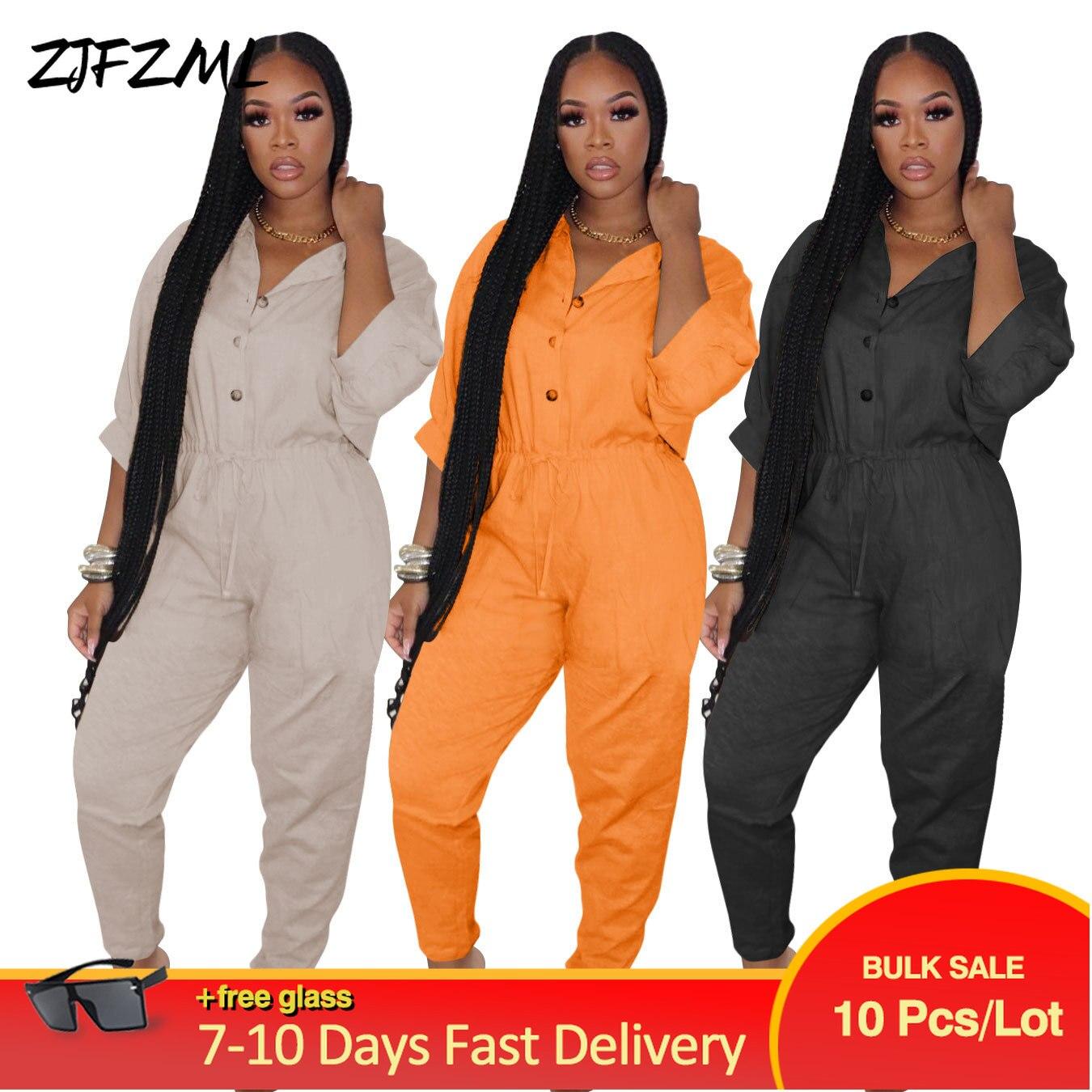 Bulk Items Wholesale Lots Casual Autumn Long Jumpsuits Women Solid Buttons Up Half Sleeve Romper Hip Hop High Waist Bodysuits