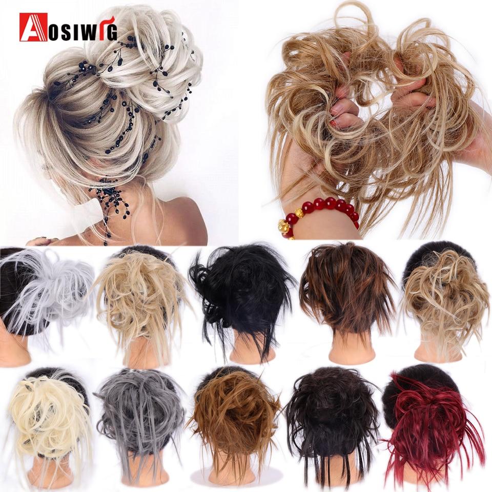 Aosiwig bagunçado cabelo bun tousled updo cabelo parte do cabelo sintético cauda extensões de borracha elástico scrunchies donut chignon