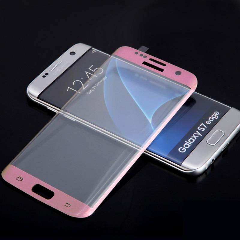 Vidrio Protector de pantalla completa 3D para Samsung S7 edge G9350, película de cristal plateado, dorado, azul y rosa