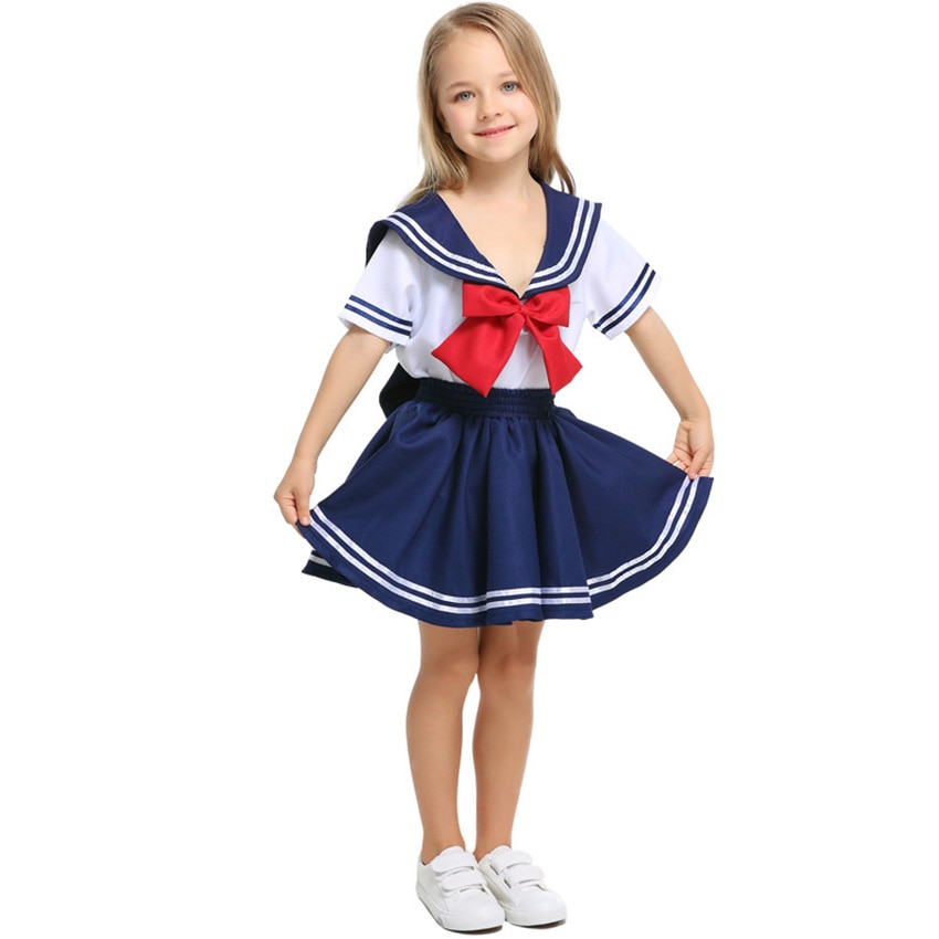 Sailor School Uniform Japanese Fashion School Girl Skirt Baby Girl Boy Cheerleader Fancy Clothing Team Wear Korean Kids Costume