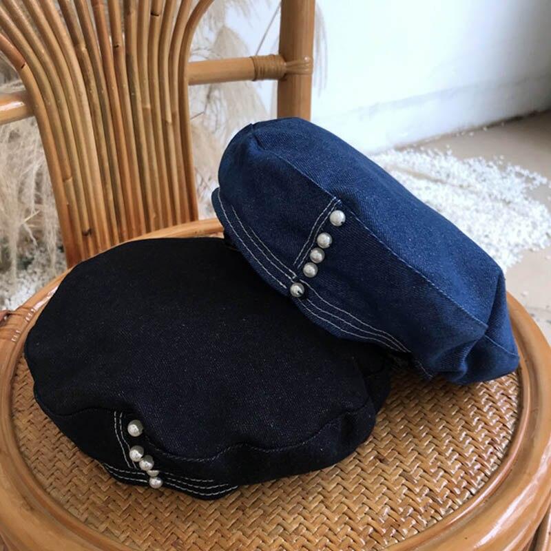 Casual pérolas feminino denim boina chapéu moda ajustável cor sólida branco preto azul francês boina leve outono inverno boné