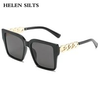 2021 new fashion square sunglasses women brand pc frame personality chain decorate luxury sun glasses female trend goggle h240