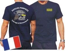Camiseta azul marino) Sapeurs Pompiers Casque-valor et Devouement-mar