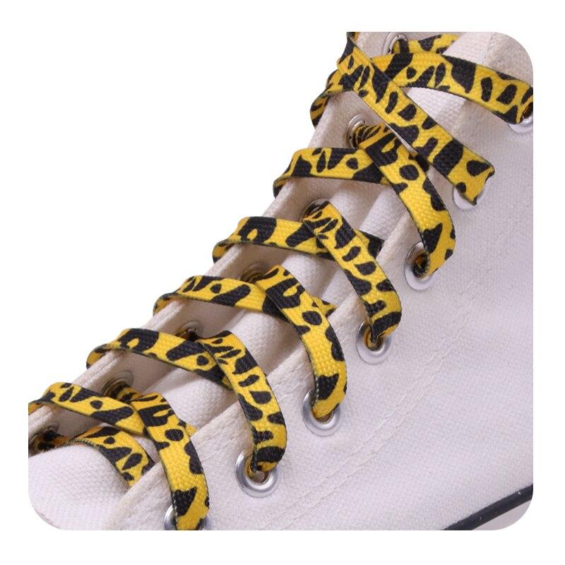 Модные трендовые плоские спортивные шнурки Coolstring 7 мм из полиэстера с цифровой печатью и леопардовым принтом, термотрансферные шнурки, шнур...