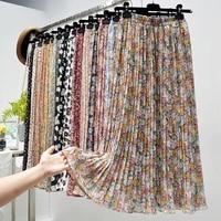 summer skirts womens 2021 new vintage floral print chiffon pleated skirt elastic high waist casual skirt women clothes jupe