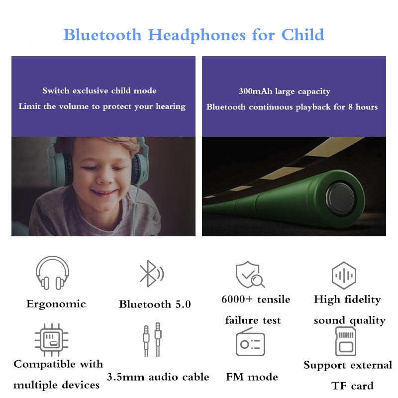 Professional Foldable Design for Children True Wireless Headphones 3D Stereo Bluetooth Headset Gaming Earphone Support TF Card enlarge