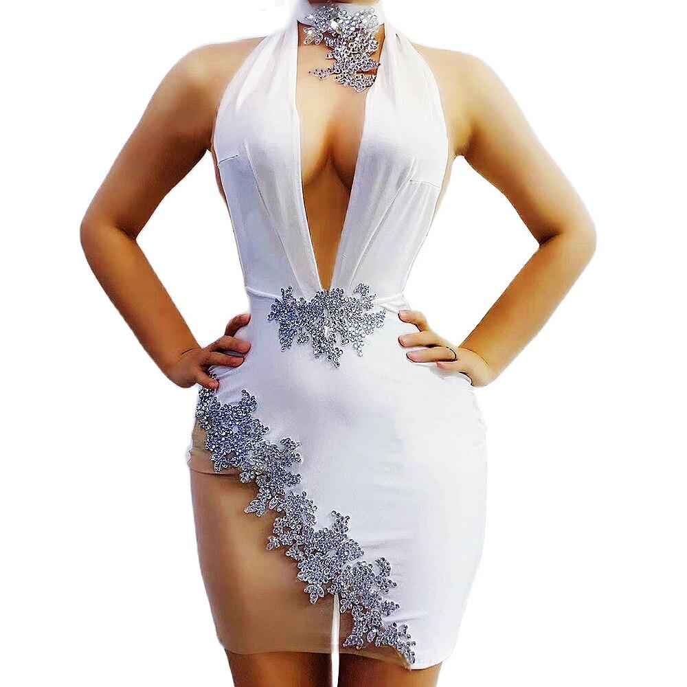 أبيض فستان بطول الركبة الشاش منظور الرقبة ملابس المرحلة زين تطريز حفلة سهرة زي ملابس ملهى ليلي