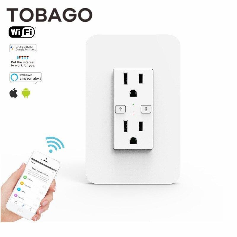 TOBAGO US Smart in-Wall Outlet Switch Timer Power Wifi розетка с дуплексным независимым AC TR розеткой