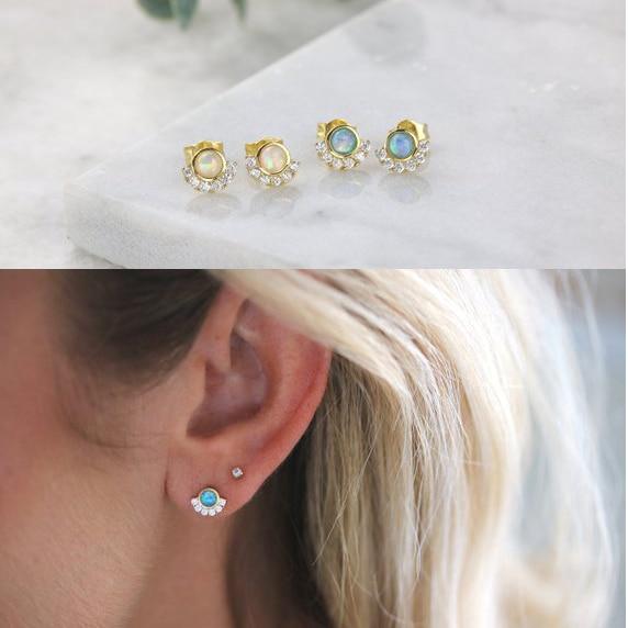 Vermeil, Plata de Ley 925, bonito pendiente de circonia cúbica de ópalo delicado para chica, regalo de joyería delicado minimalista para mujer