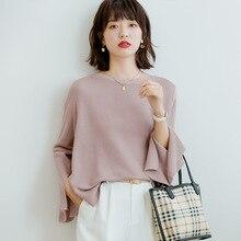 Femmes printemps et automne mode Style français couleur unie à manches longues tricoté pull femme décontracté pull mince pull