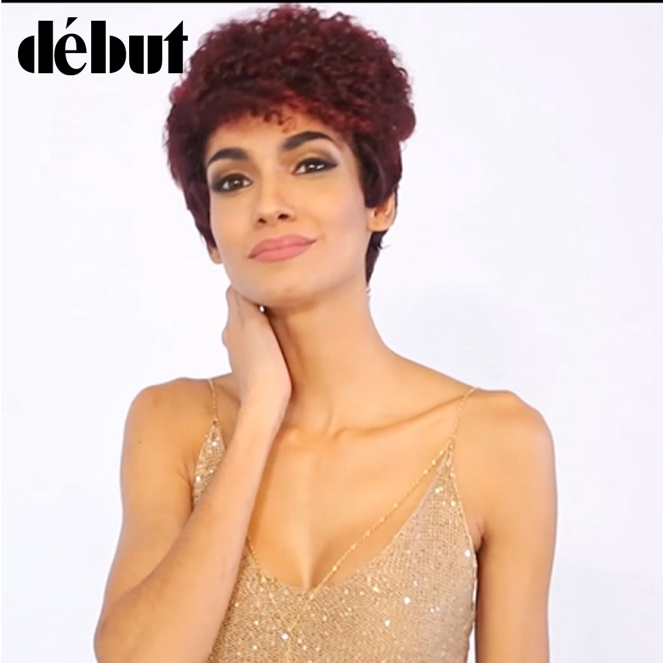Pelucas de cabello humano rizado Jerry para mujeres negras, pelucas cortas de pelo rizado afro coqueto hechas a máquina, Envío Gratis