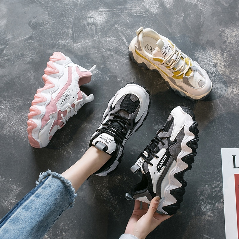 Old Daddy Shoes Women's Spring 2021 New Korean Version of The Wild Breathable Thick-soled Casual Sports Shoes Women's Shoes
