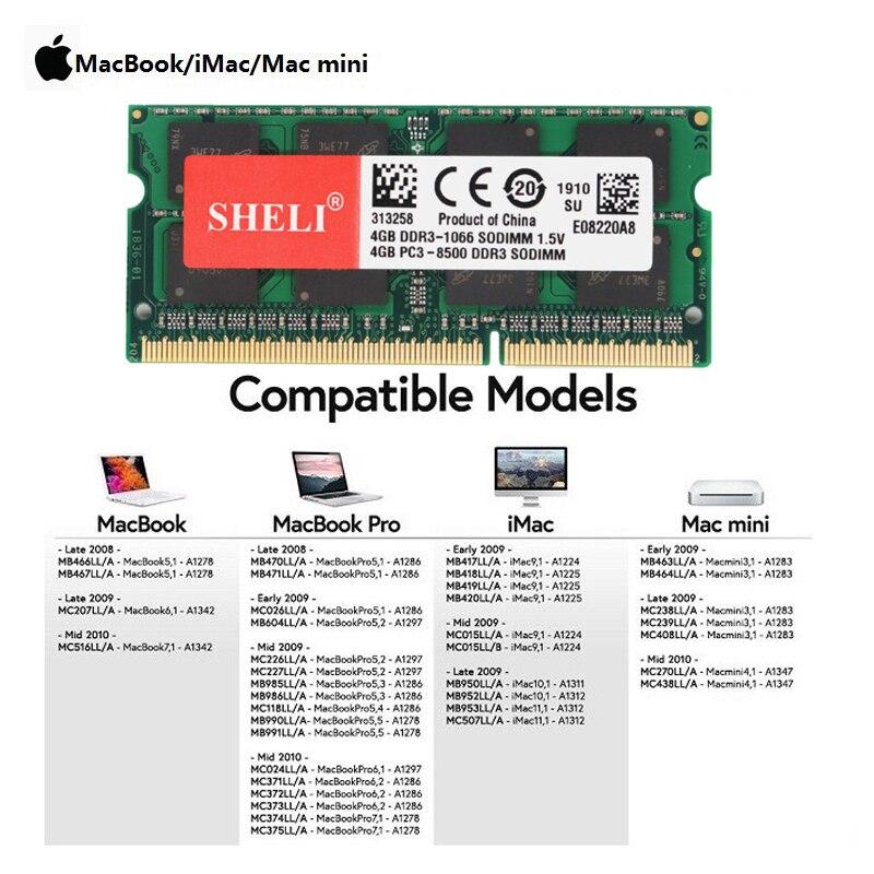 SHELI 4GB 8GB PC3L-8500s DDR3L 1066MHz Sodimm غير مصقول Laptop Memory RAM للماك بوك برو وآي ماك