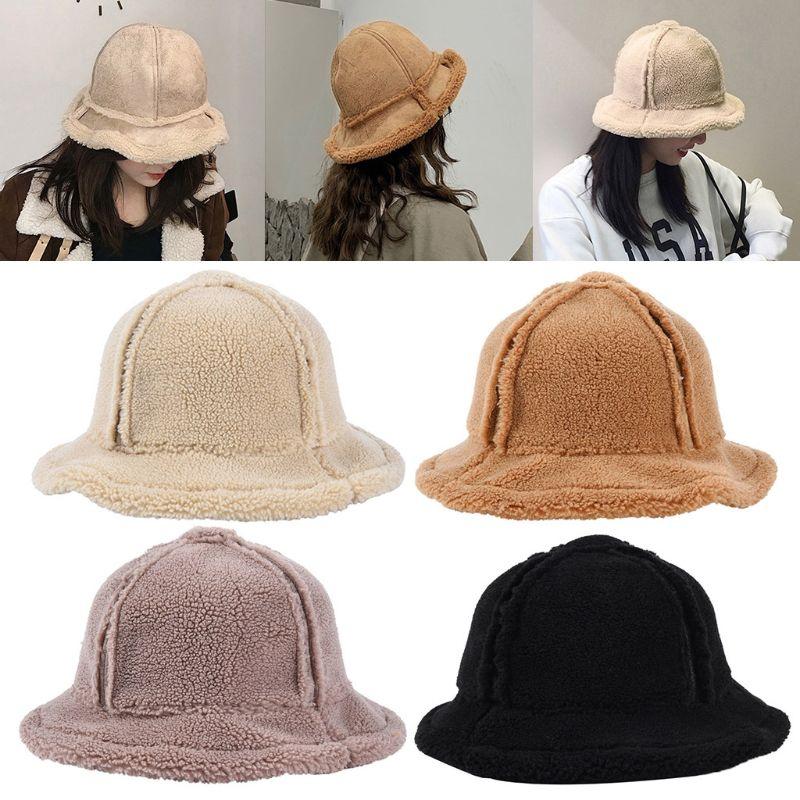 Женская двусторонняя замшевая шапка из искусственного меха флисовая Bcket Зимняя