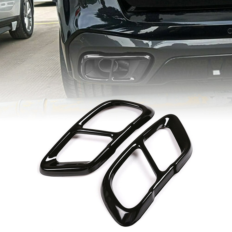 Coche negro silenciadores de escape recorte cubierta Material de acero inoxidable para BMW X5 G05 2019 BMW 2020 para X7 G07 2019, 2020