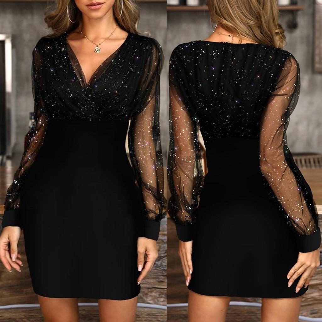 Wonen Vestidos, новинка 2019, сексуальное летнее женское платье с блестками, черное, Ретро стиль, элегантные вечерние платья