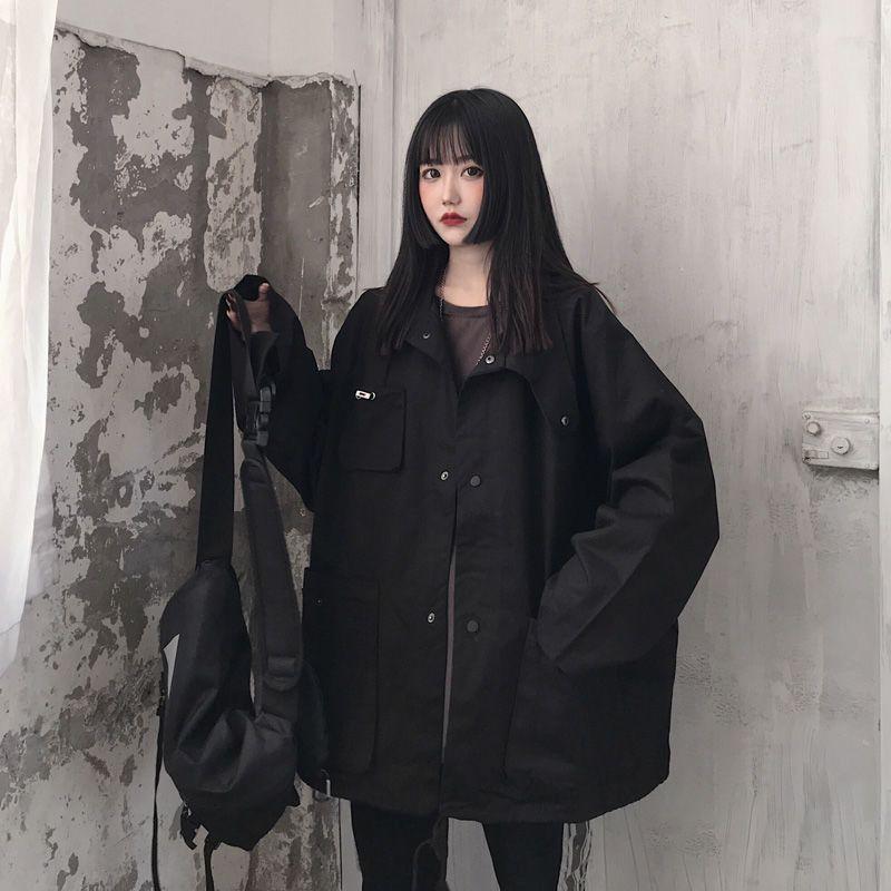 Harajuku سترة سوداء الرجال النساء techwear معاطف الكورية preppy عادية كل مباراة خمر الوقوف طوق واقية من الشمس زي بيسبول