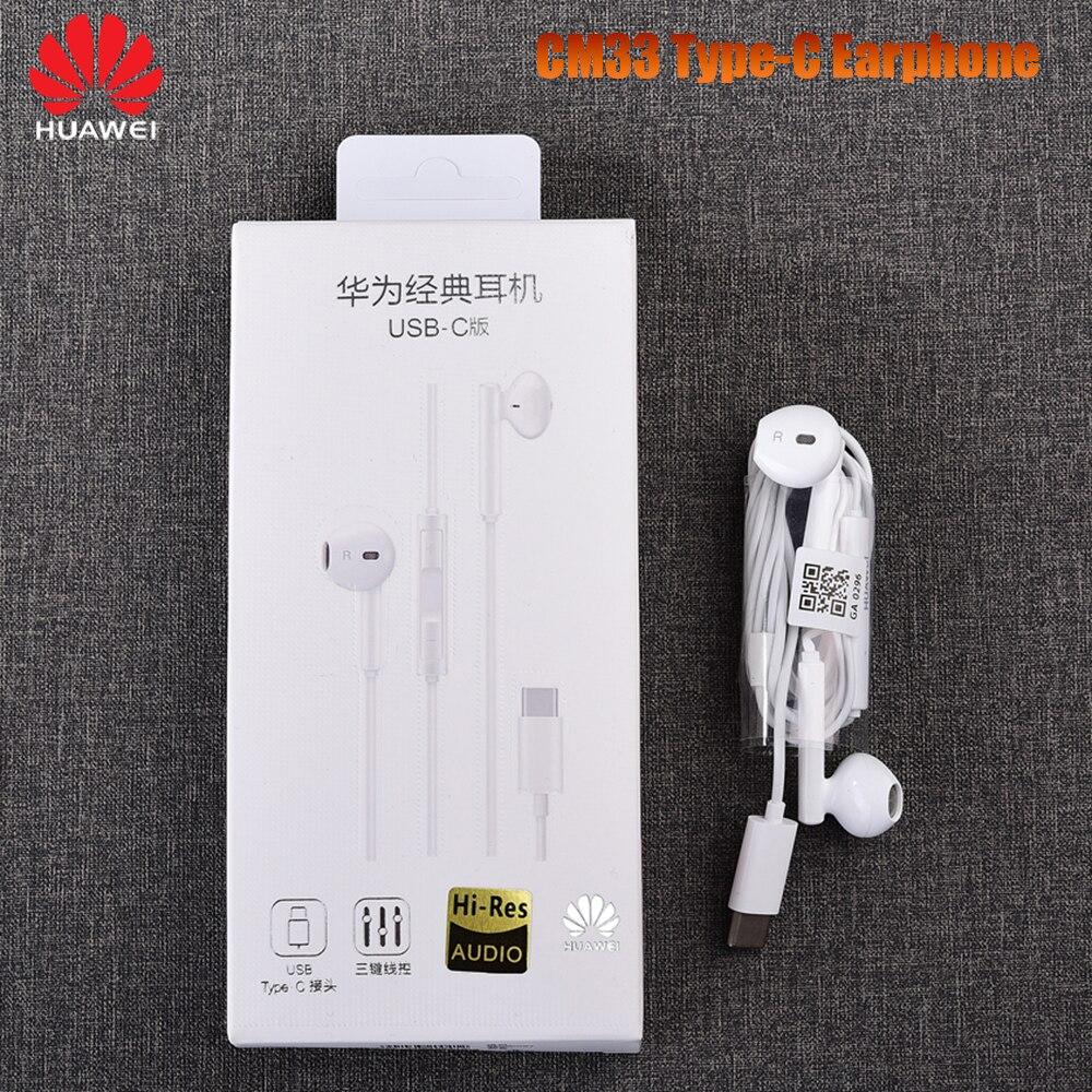Huawei cm33 fone de ouvido original usb tipo-c in-ear fone de ouvido mic controle de volume para companheiro 10 20 30 pro 20 x rs p20 p30 p40 pro nota 10
