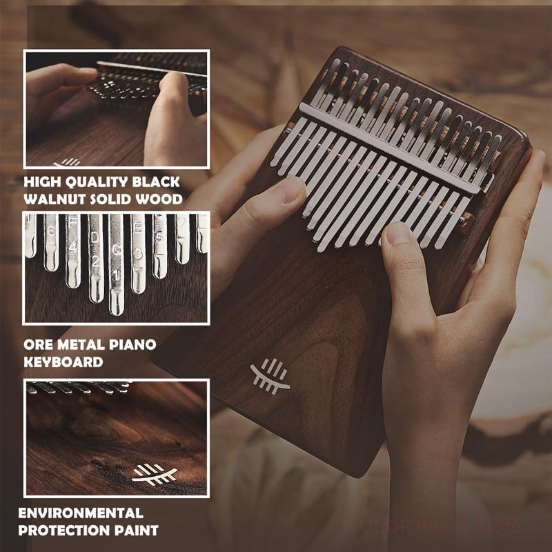 Hluru Kalimba 17 Key Black Walnut Slope Design Thumb Piano Keyboard Class A Music box Calimba Instruments Xylophone Gift Mbira enlarge