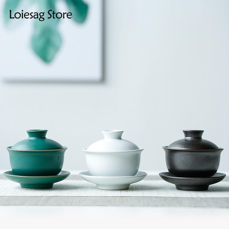 Loiesag 110 مللي اليدوية الرجعية غطاء الحجري وعاء السيراميك Sancai غطاء وعاء الشاي وعاء فنجان شاي مع طبق الكونغ فو طقم شاي ماكينة إعداد الشاي