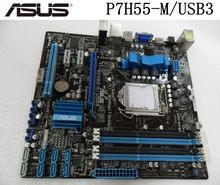 Carte mère de bureau Asus P7H55-M/USB3 H55 USB3.0 USB 2.0Socket LGA 1156 i3 i5 i7 DDR3 16G Original utilisé ordinateur de bureau