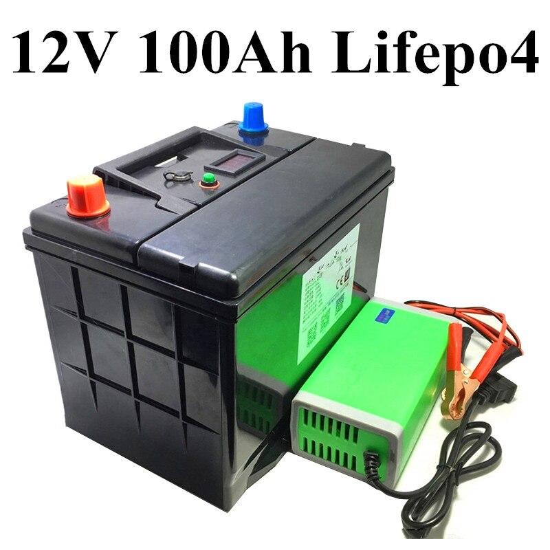 Caja a prueba de agua pantalla LCD 12V 100Ah Lifepo4 Paquete de bateria con BMS para currican motor convertidor de barco RV Golf
