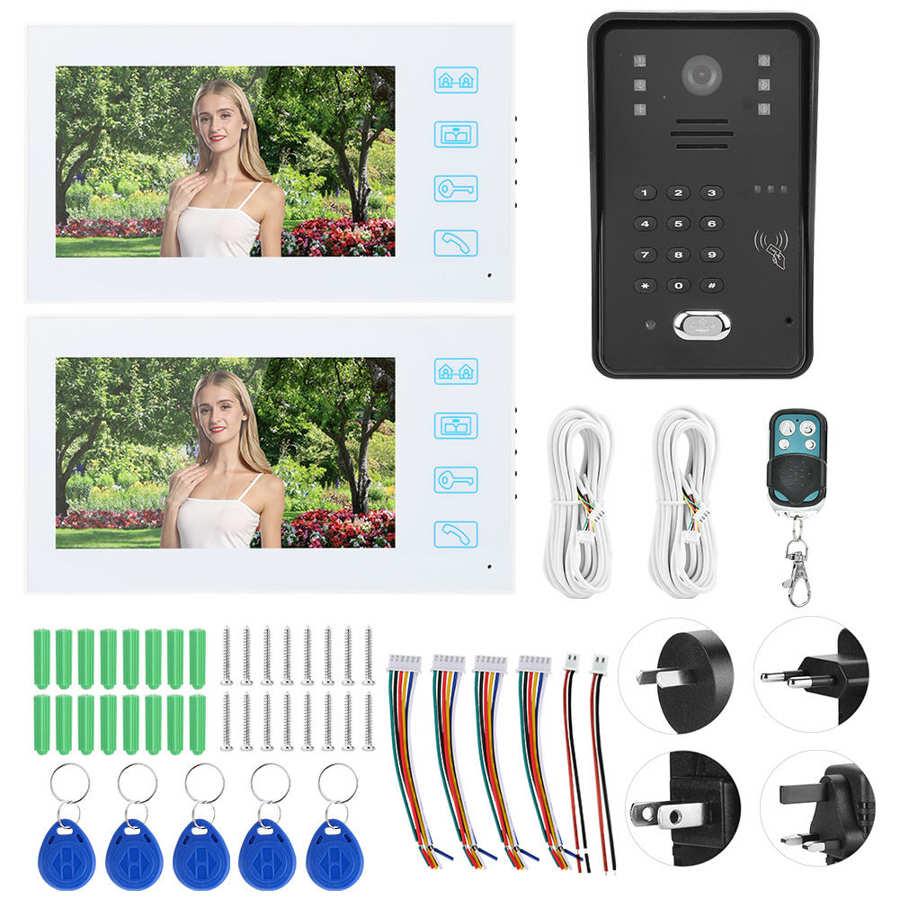 7 polegada tft lcd campainha da porta à prova dwaterproof água interfone de controle remoto senha cartão porta telefone 2 monitores branco mirilla digital