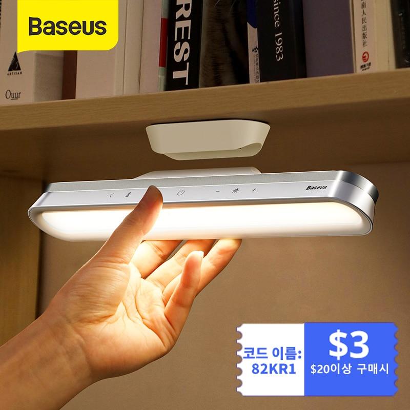 Baseus لمبة مكتب معلق المغناطيسي LED الجدول مصباح قابلة للشحن ستبليس يعتم إضاءة الخزانة ضوء الليل لخزانة خزانة
