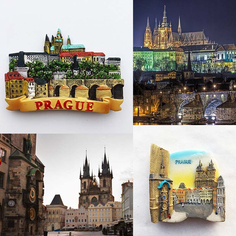 Czech Fridge Magnets Prague Landmark Building Tourist Souvenir Magnetic Refrigerator Stickers Travel Collection Home Decor Gifts dubai tourist souvenirs fridge magnets khalifa tower saudi arabia refrigerator commemorative magnet stickers home decoration