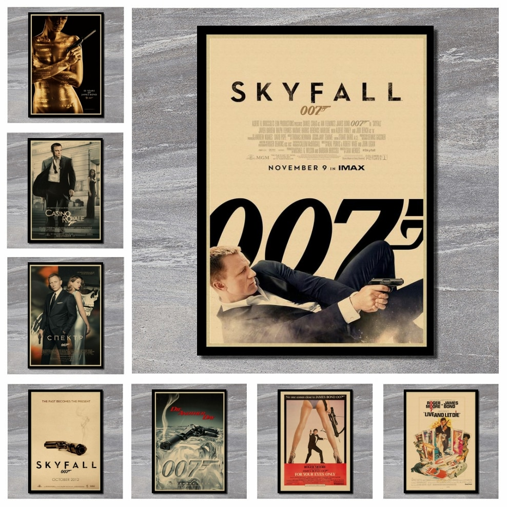 007 James Bond Agente Connery Daniel Craig classic action film kraft paper bar poster Retro Poster decorative painting