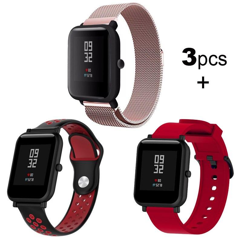 Pulsera para Xiaomi Huami Amazfit GTS/Bip/GTR de 20mm, pulsera de acero inoxidable y silicona de 42mm para reloj de pulsera