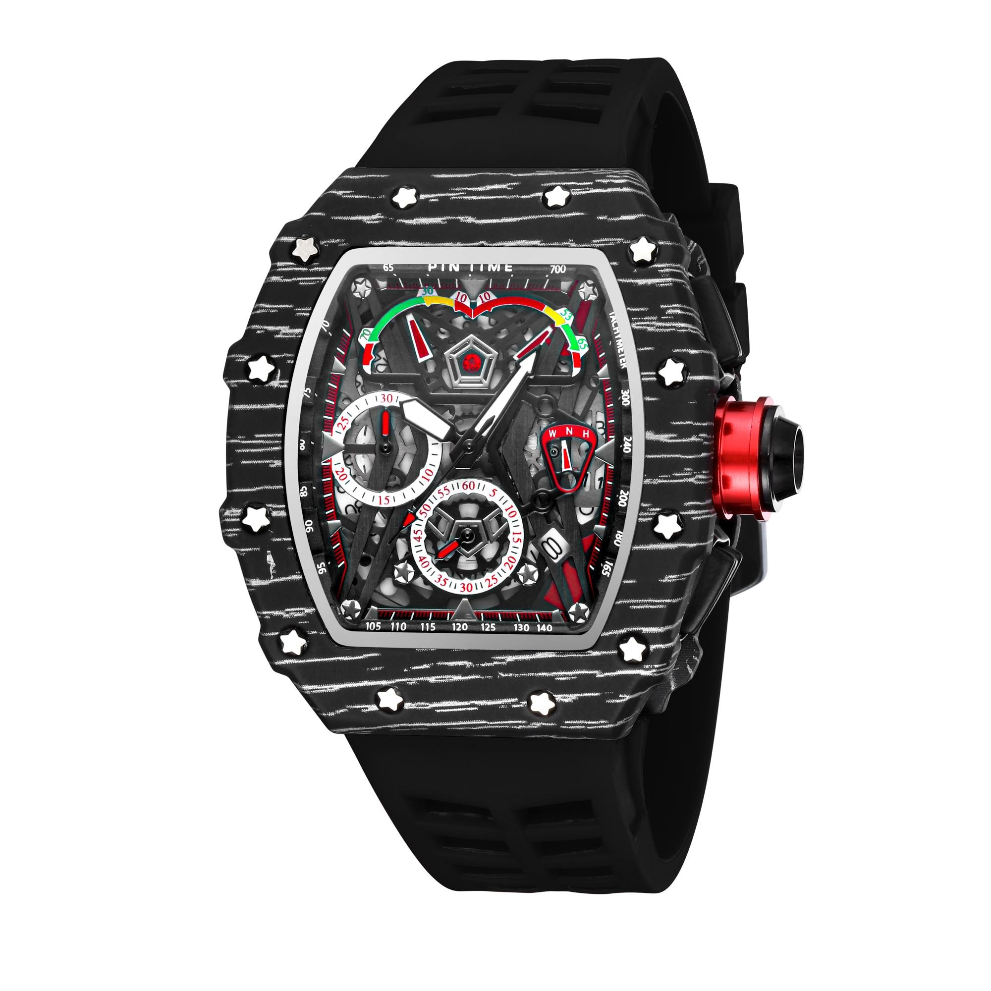 New Men's WatchTonneau Watches Men's Big Dial Quartz Watch Multifunctional MillerMiller Luminous Calendar Silicone WristWatch