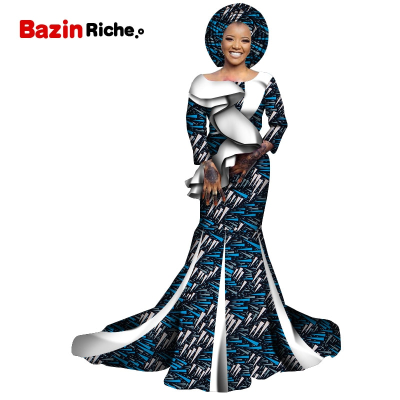 Gifted Headwrap Traditional African Women Clothing Floor-length Wax Cotton Custom Birthday Party Dresses WY7073