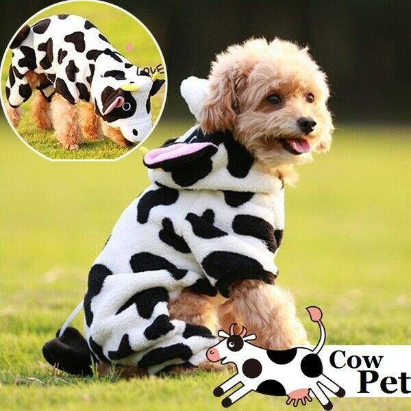 Pet Dog stroje dla kota śliczne kreskówkowa krowa ubrania dla szczeniąt koty kostium na Halloween koralowa aksamitna ciepła bluza z kapturem Cosplay zwierząt zima