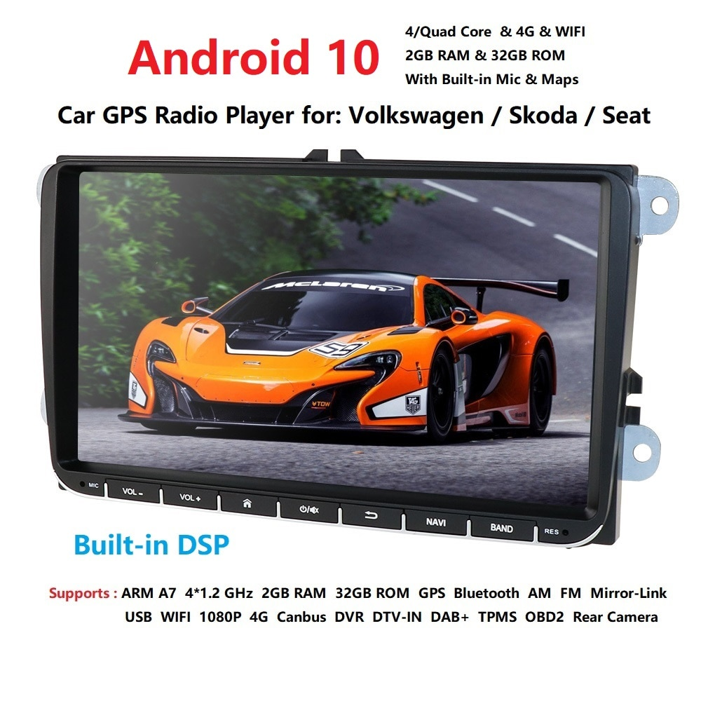 "Android 10,0 автомобильный dvd-плеер 9 ""стерео для V W GOLF 5 Golf 6 Polo Passat CC J etta Tiguan Touran GPS навигация Бесплатная камера"