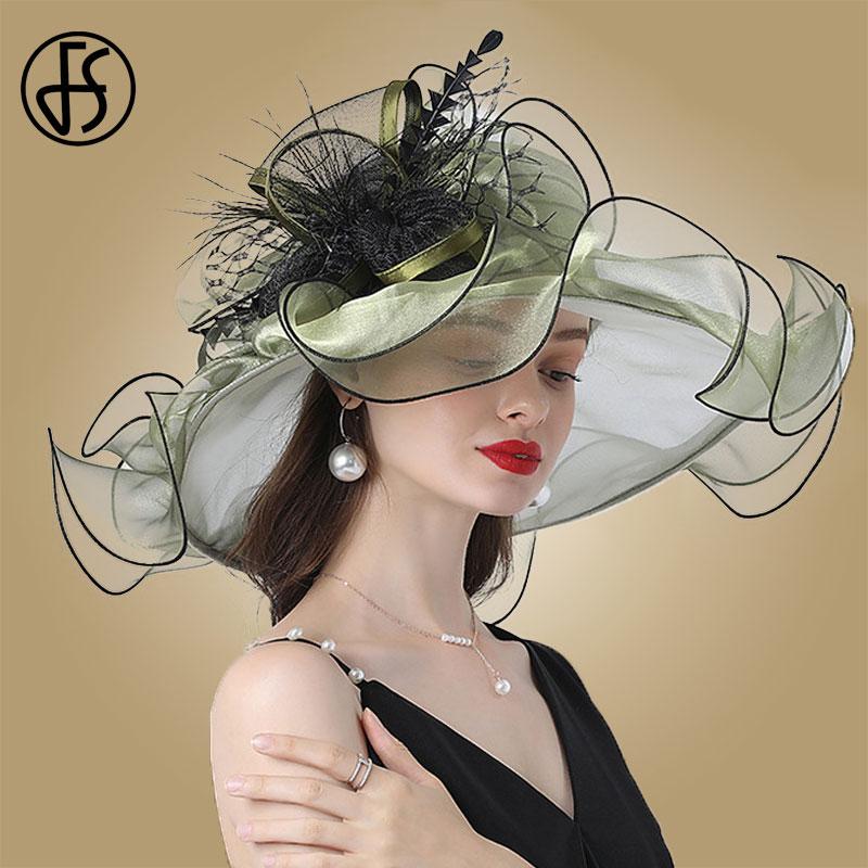 Fs moda chapéu para mulher kentucky derby rosa organza chapéus senhoras chá festa de casamento grande borda larga fascinator vintage fedoras