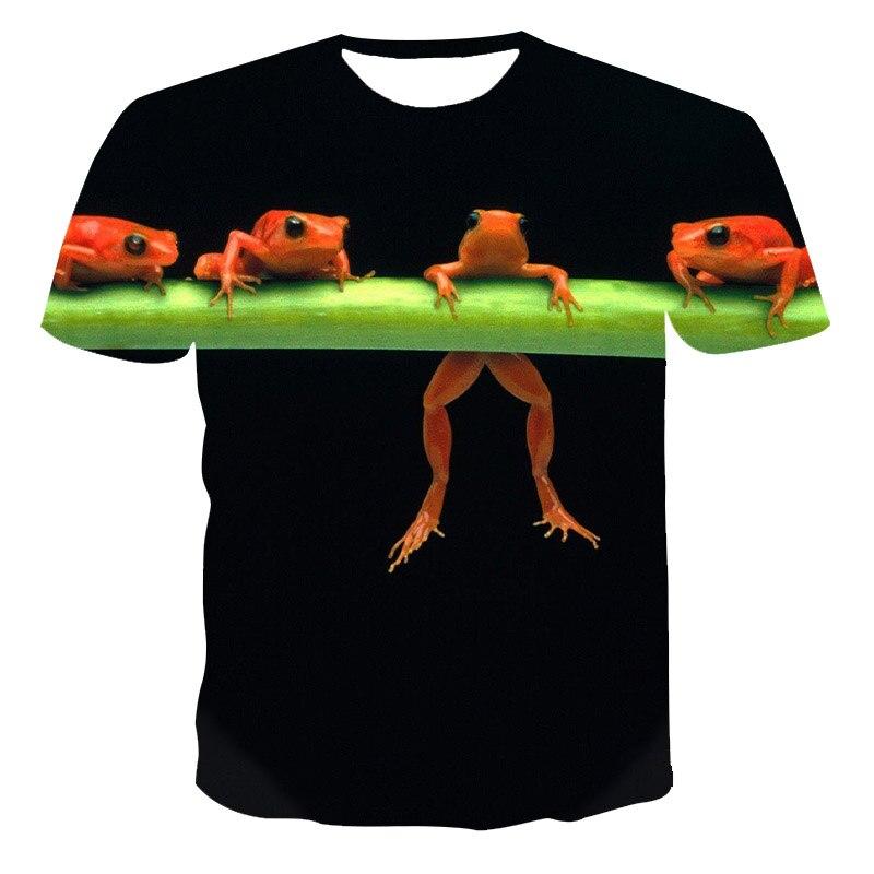 Футболка с лягушкой мужская летняя футболка с 3D принтом дерево лягушка модный тонкий топ для детей в стиле хип-хоп крутая футболка Спортивн...