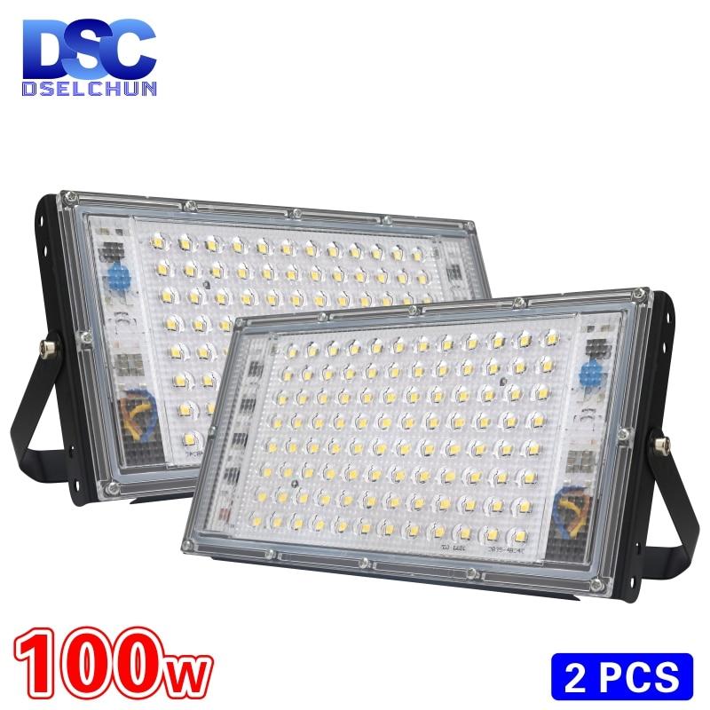 2pcs/lot 100W Led Flood Light AC 220V 230V 240V Outdoor Floodlight Spotlight IP65 Waterproof LED Street Lamp Landscape Lighting